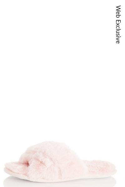 Pink Fluffy Cross Slippers
